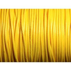 5 mètres - Cordon Coton Ciré 2mm Jaune - 4558550016065