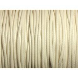 5 mètres - Cordon Coton Ciré 2mm Blanc 4558550016072