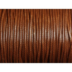 5 mètres - Cordon Coton Ciré 2mm Marron Chocolat - 4558550016096