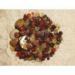 Lot Perles de Pierres semi précieuses, Ambre, Nacre 4-20mm 4558550016126