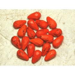 4pc - Perles Turquoise synthèse Gouttes Facettées 16x9mm Orange 4558550016133