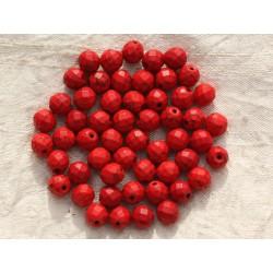 10pc - Perles Turquoise synthèse Boules Facettées 8mm Rouge 4558550016140