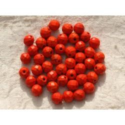 10pc - Perles Turquoise synthèse Boules Facettées 8mm Orange 4558550016171