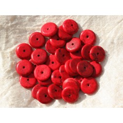 20pc - Perles Turquoise synthèse Rondelles 12 x 2-3mm Rouge 4558550016201