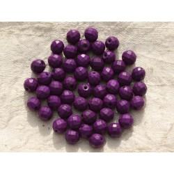 10pc - Perles Turquoise synthèse Boules Facettées 8mm Violet 4558550016249