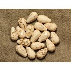 4pc - Perles Turquoise synthèse Gouttes Facettées 16x9mm Blanc 4558550016324