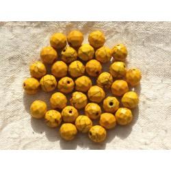 10pc - Perles Turquoise synthèse Boules Facettées 8mm Jaune 4558550016331
