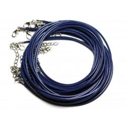 10pc - Colliers Tours de cou Coton Ciré 2mm Bleu Marine - 4558550016362