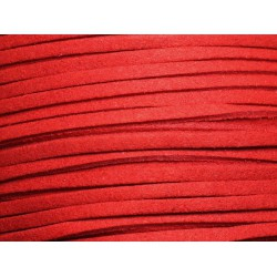 5 mètres - Cordon Lanière Suédine 3x1.5mm Rouge vif 4558550016447