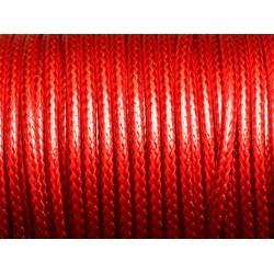 3 mètres - Cordon Coton Ciré 3mm Rouge 4558550016454