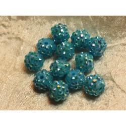 5pc - Perles Shamballas Résine 12x10mm Bleu 4558550016461