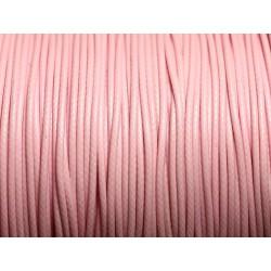5 Mètres - Cordon de Coton Ciré 1mm Rose clair - 4558550016546