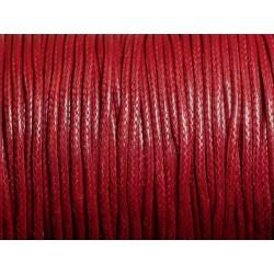 5 mètres - Cordon Coton Ciré 2mm Rouge - Bordeaux 4558550101761