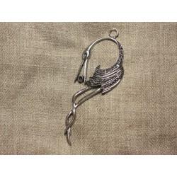 1pc - Pendentif Breloque Métal Argenté Rhodium Oiseau 92mm 4558550016720
