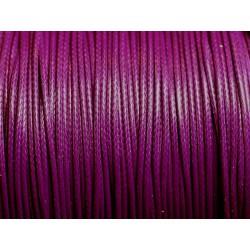 5 Mètres - Cordon de Coton Ciré 1mm Violet Magenta - 4558550016737