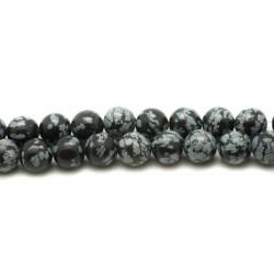 10pc - Perles de Pierre - Obsidienne Flocon de neige Mouchetée Boules 8mm 4558550016744