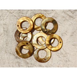 10pc - Breloques Pendentifs Nacre Cercles 25mm Marron Doré 4558550016867