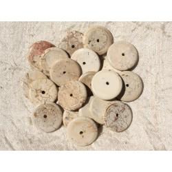 10pc - Perles de Pierre - Turquoise synthèse Rondelles 18mm Beige Ecru - 4558550016942