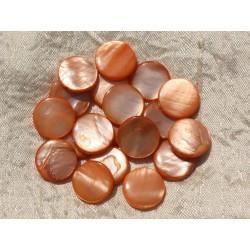 10pc - Perles Nacre Palets 15mm Orange 4558550017024