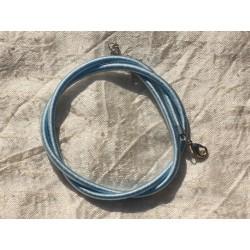1pc - Collier Tour de cou Soie 3mm Bleu Ciel 46cm 4558550017161