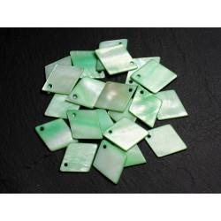 10pc - Breloques Pendentifs Nacre Losanges 21mm Vert 4558550017444
