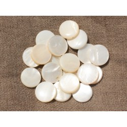 10pc - Perles Nacre blanche Palets 14-15mm 4558550017475