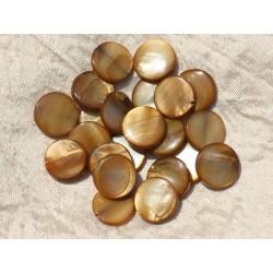 10pc - Perles Nacre Palets 15mm Marron Doré 4558550017567
