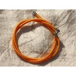 1pc - Collier Tour de cou Soie 3mm Jaune Orange Safran 4558550017574