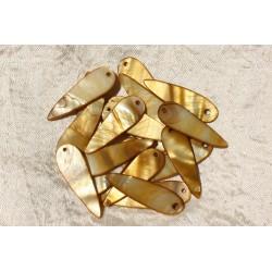 10pc - Breloques Pendentifs Nacre Gouttes 35mm Bronze Doré 4558550017741