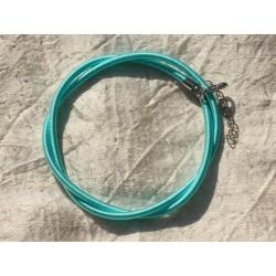 1pc - Collier Tour de cou Soie 3mm Bleu Turquoise N1 46cm 4558550017796
