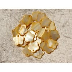 10pc - Breloques Pendentifs Nacre Fleurs 15mm Jaune 4558550017833
