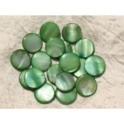 10pc - Perles Nacre Palets 15mm Vert 4558550017970