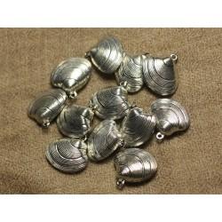 4pc - Breloques Pendentifs Métal Argenté Rhodium Coquillage 20mm 4558550018076