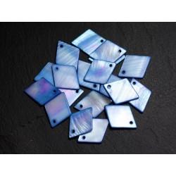 10pc - Perles Breloques Pendentifs Nacre Losanges 21mm Bleu 4558550018137