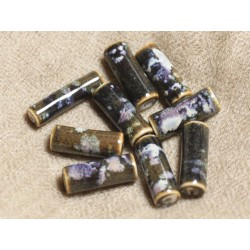 6pc - Perles Céramique Porcelaine - Colonnes Tubes 20x8mm Noir Blanc Mauve 4558550018151