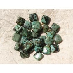 5pc - Perles de Pierre - Turquoise Afrique Carrés 10mm 4558550018182