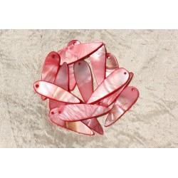 10pc - Breloques Pendentifs Nacre Gouttes 35mm Rouge Rose 4558550018250