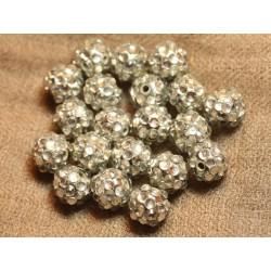 5pc - Perles Shamballas Résine 12x10mm Argenté et Transparent 4558550018274