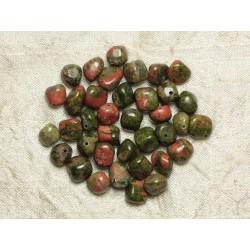 10pc - Perles de Pierre - Unakite Nuggets 8-10mm 4558550021489