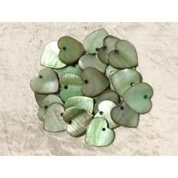 10pc - Breloques Pendentifs Nacre Verte Coeurs 18mm 4558550018564