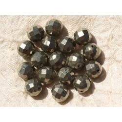 2pc - Perles de Pierre - Pyrite Dorée Boules Facettées 10mm 4558550018687