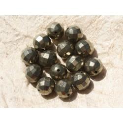 1pc - Perle de Pierre - Pyrite Dorée Boule Facettée 12mm 4558550018762