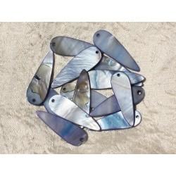 10pc - Breloques Pendentifs Nacre Gouttes 35mm Bleu 4558550018809