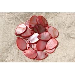 10pc - Breloques Pendentifs Nacre Gouttes 19mm Rouge Rose 4558550018915