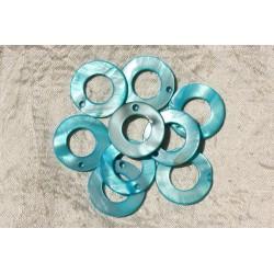 10pc - Breloques Pendentifs Nacre Cercles 25mm Bleu Turquoise 4558550018953