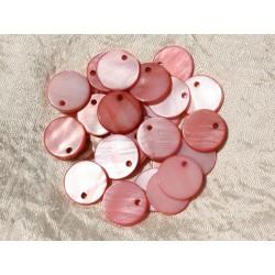 10pc - Breloques Pendentifs Nacre Rose Ronds 15mm - 4558550018984