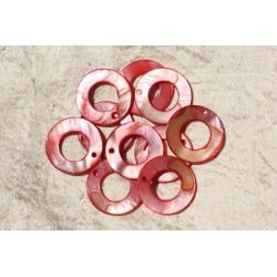 10pc - Breloques Pendentifs Nacre Cercles 25mm Rouge Rose 4558550019196