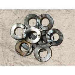 10pc - Breloques Pendentifs Nacre Cercles 25mm Gris Noir 4558550019318