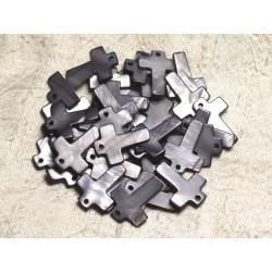4pc - Perles Breloques Pendentifs Nacre Croix 22mm Gris Noir 4558550002471