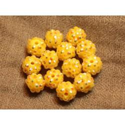 5pc - Perles Shamballas Résine 12x10mm Jaune 4558550019493